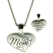 "Connections from Hallmark Stainless-Steel Inscribed ""Mom"" Heart Pendant, 18-20"""