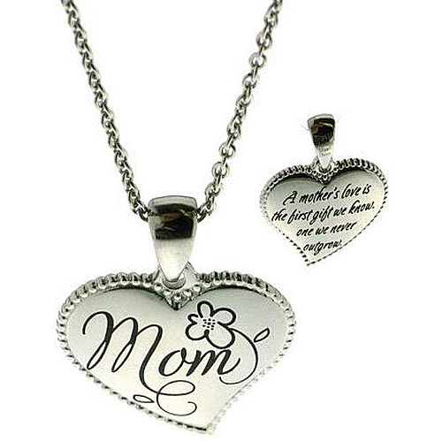 """Connections from Hallmark Stainless-Steel Inscribed """"Mom"""" Heart Pendant, 18-20"""