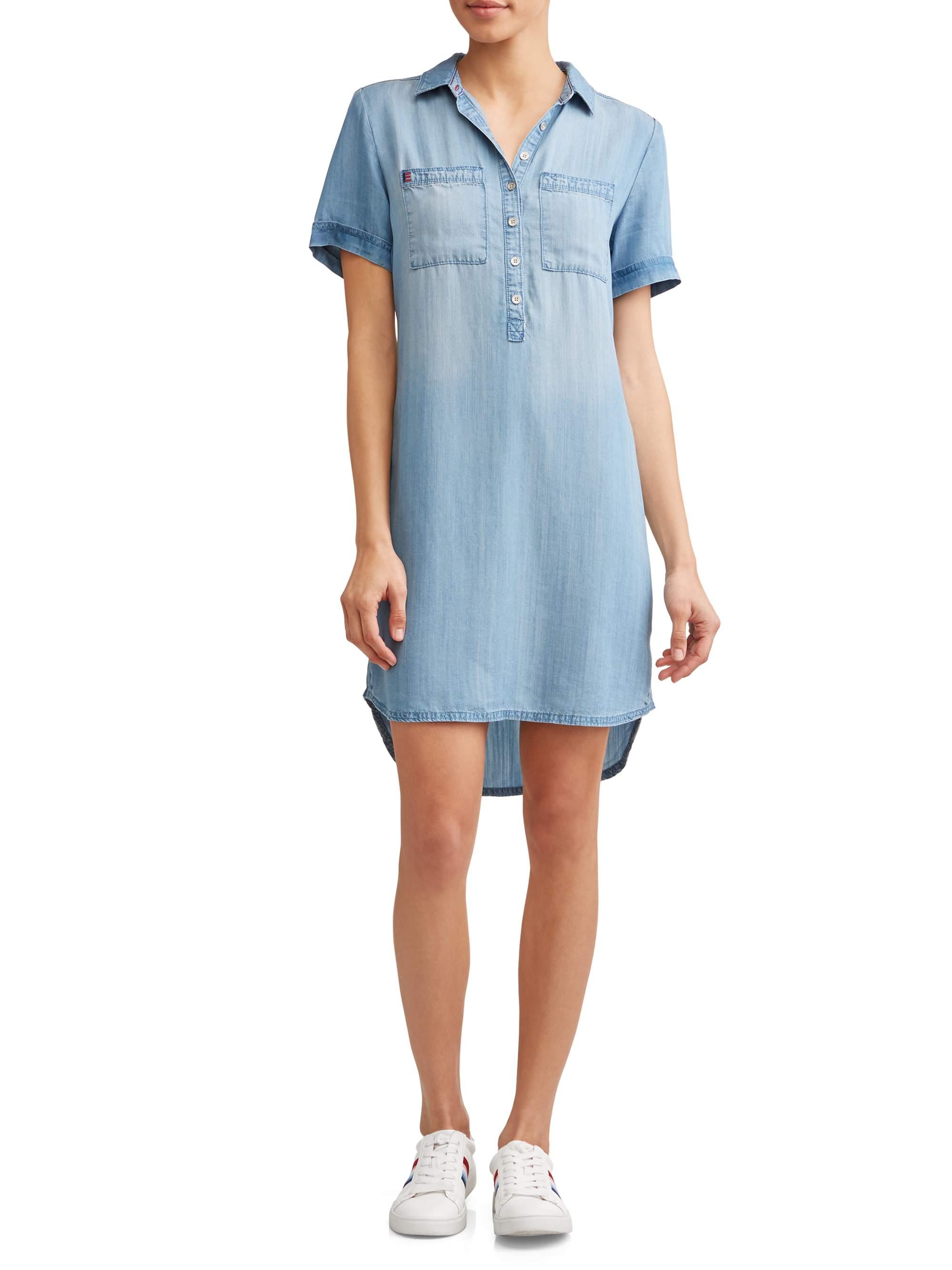 Chambray 2-Pocket Short Sleeve Dress Women's