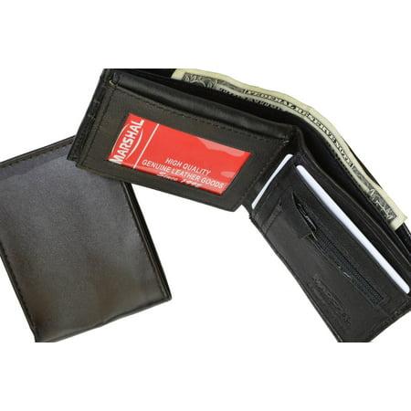 Zippered Change Pocket Leather Bifold Mens Wallet 1653 (C) Black