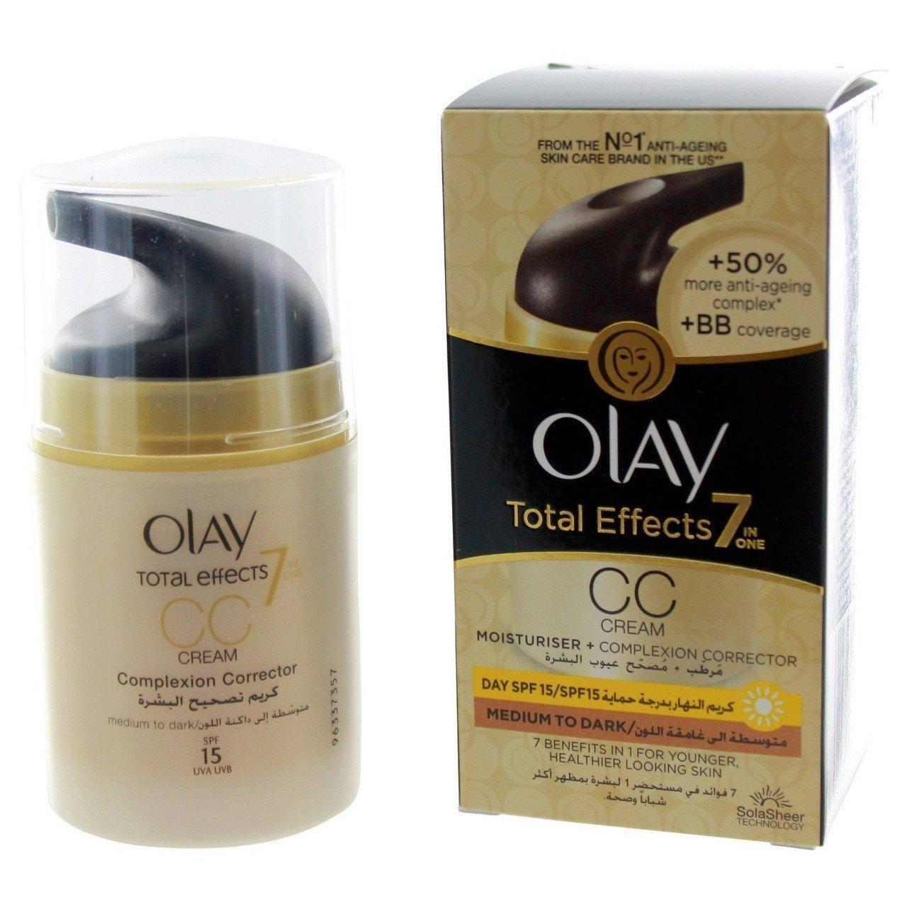 Olay Total Effects 7-In-1 Anti-Aging Moisturizer CC Cream with SPF 15 - Medium To Dark Shade - 1.7oz / 50ml Bottle