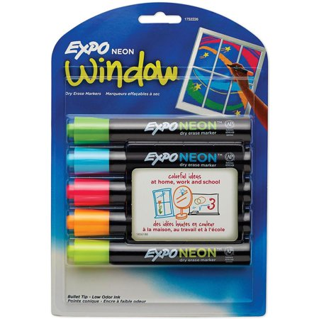 Neon Expo Markers (EXPO Neon Dry Erase Markers, Assorted Colors (Bullet Tip, 5)