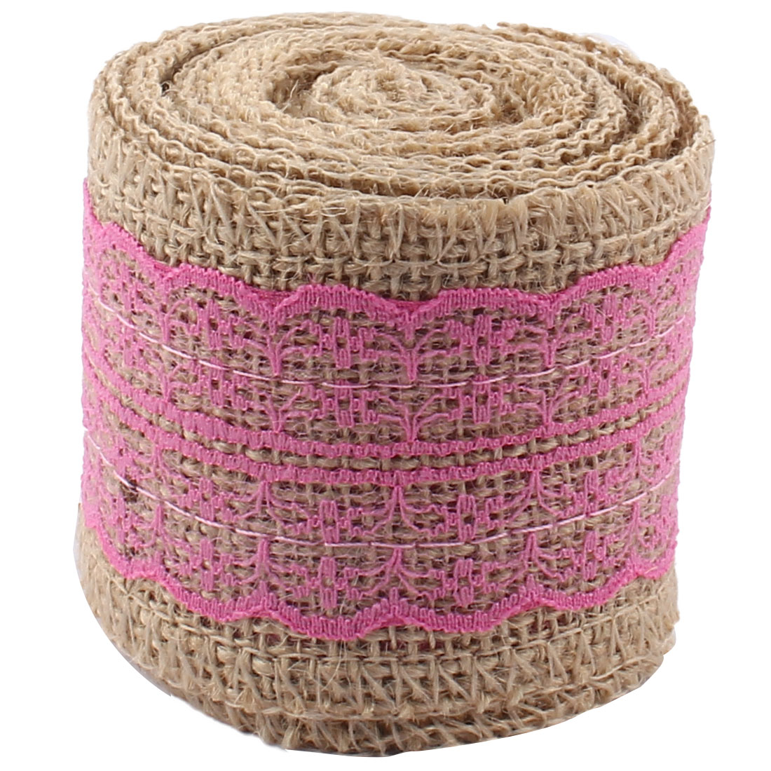 Room Decor Burlap DIY Gift Wrapping Packing Craft Ribbon Roll Fuchsia 3.3 Yards - image 3 of 4