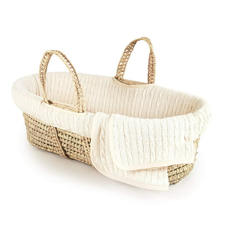 Tadpoles Cable Knit Moses Basket and Bedding Set,