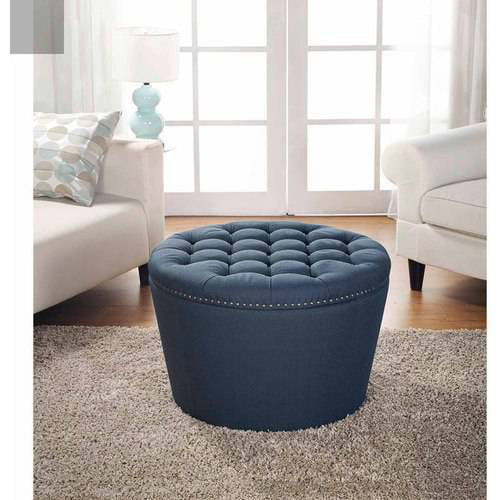 Better Homes and Gardens Round Tufted Storage Ottoman with Nailheads, Multiple Finishes by