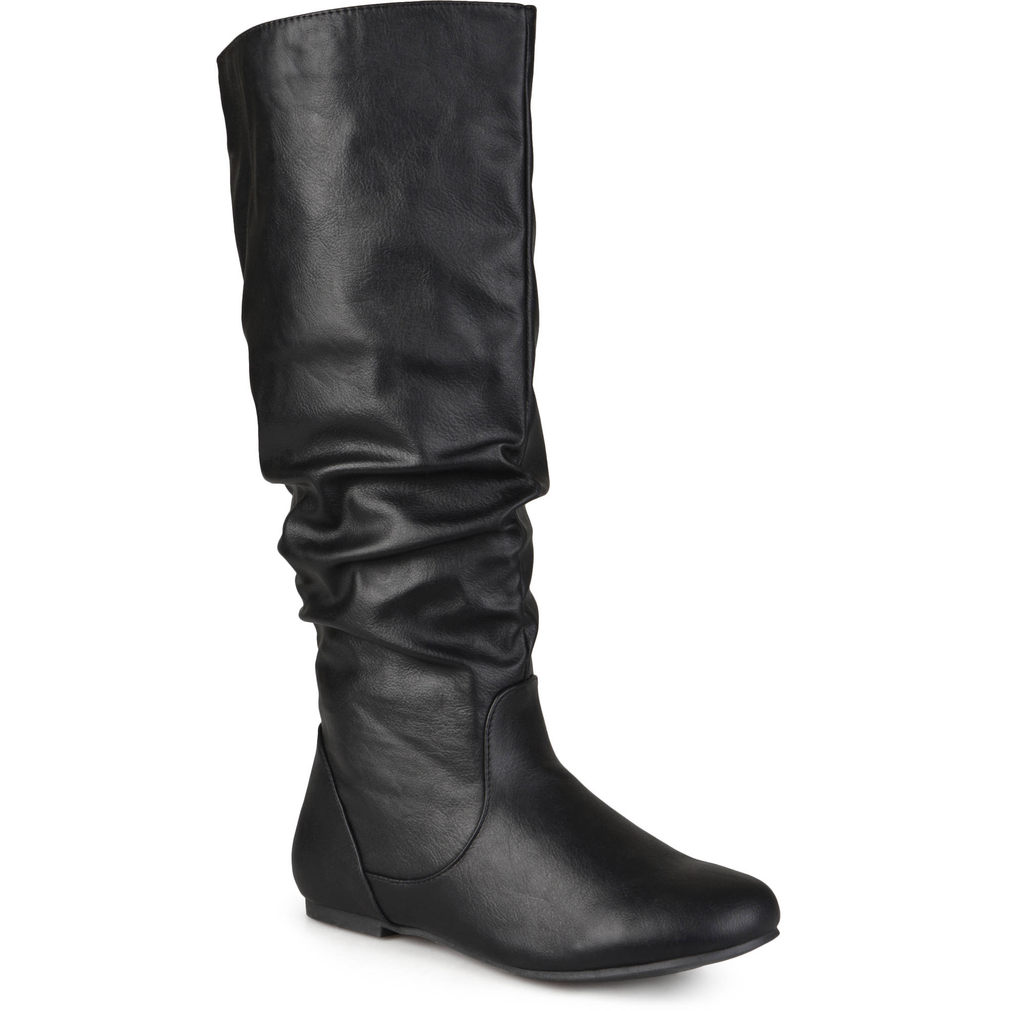 0656f733c2d Women s Extra Wide Calf Knee High Faux Leather Riding Boots - Walmart.com