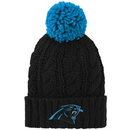 Carolina Panthers Hat (Carolina Panthers Girls Youth Team Cable Cuffed Knit Hat with Pom - Black - OSFA)