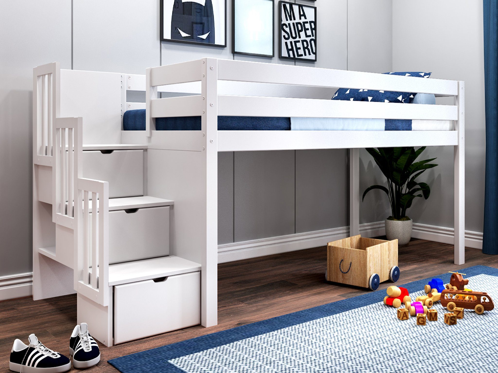 Jackpot Contemporary Low Loft Twin Bed With Stairway Loft Bed White Walmart Com Walmart Com