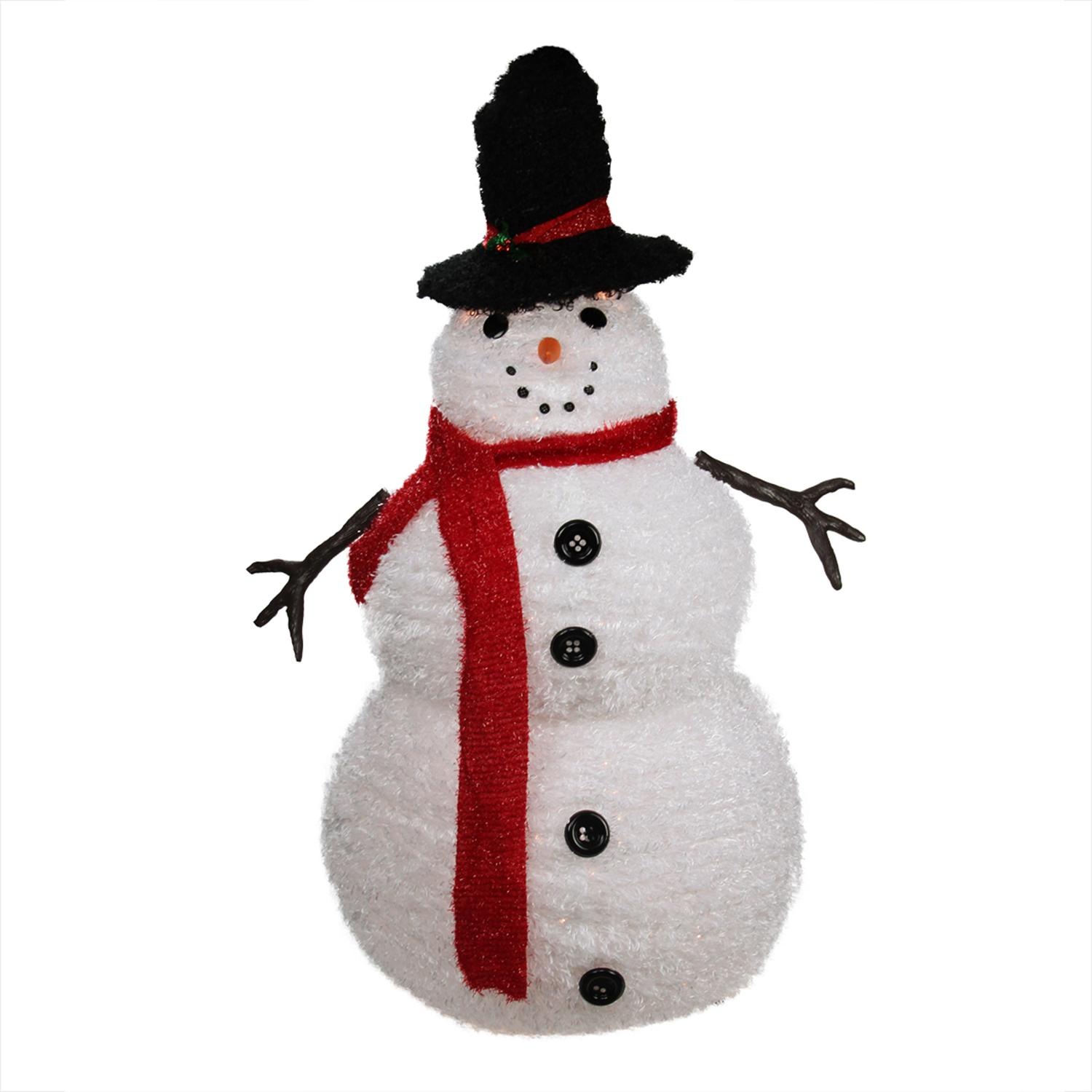 Christmas Snowmen Decorations.4 Lighted 3 D Chenille Winter Snowman With Top Hat Outdoor Christmas Decoration