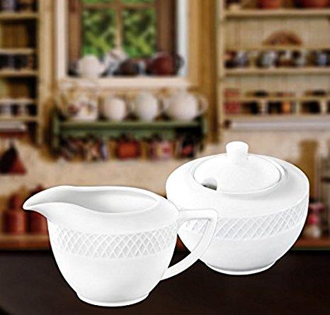 Wilmax WL-880112, Julia Collection Classic White Porcelain 11 oz. Sugar Bowl and 9 oz. Creamer Set for Coffee and Tea, European Bone China Sugar Pot with Milk Cream Pitcher, Gift Box, 2-Piece Set