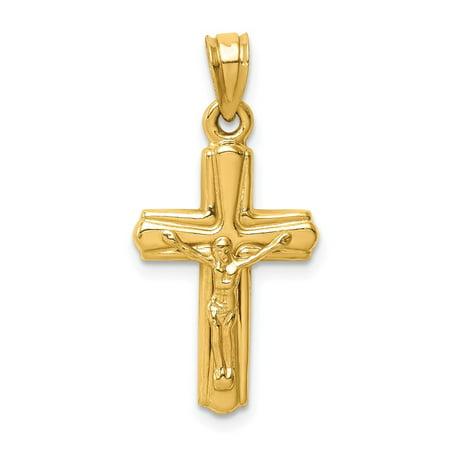 Roy Rose Jewelry 14K Yellow Gold Reversible Crucifix /Cross Pendant