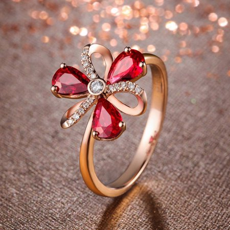 (Girl12Queen Fashion Flower Rhinestone Opening Finger Ring Adjustable Women Jewelry Gift)