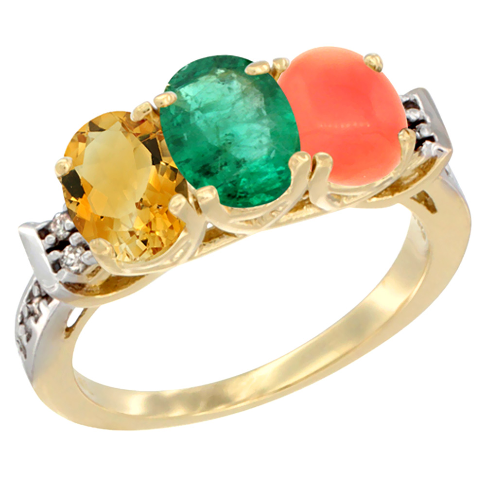10K Yellow Gold Natural Citrine, Emerald & Coral Ring 3-Stone Oval 7x5 mm Diamond Accent, sizes 5 10 by WorldJewels