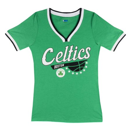 Boston Celtics Women's NBA Short Sleeve Biblend V Notch Scoop Neck Tee
