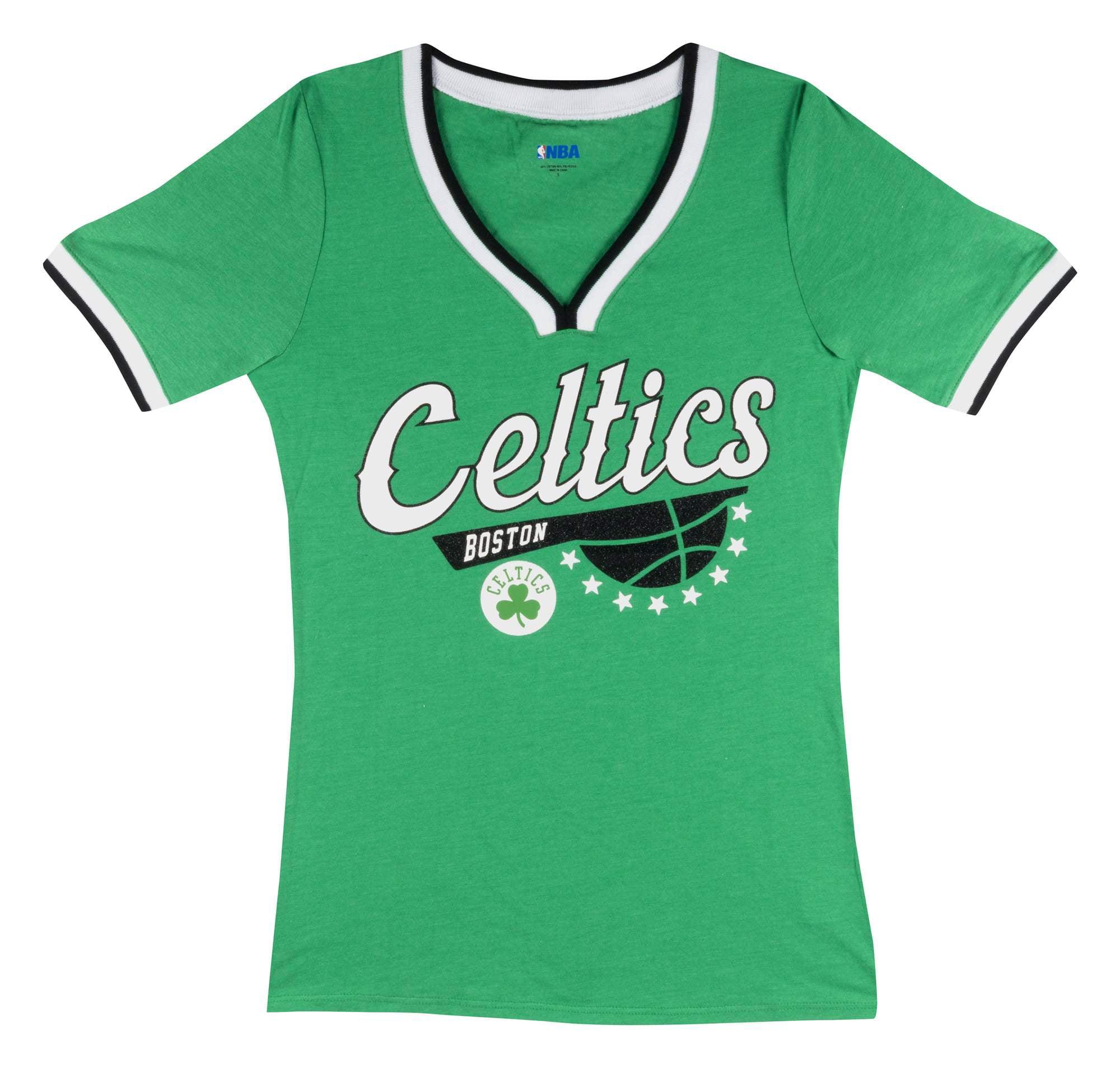 Boston Celtics Women's NBA Short Sleeve Biblend V Notch Scoop Neck Tee