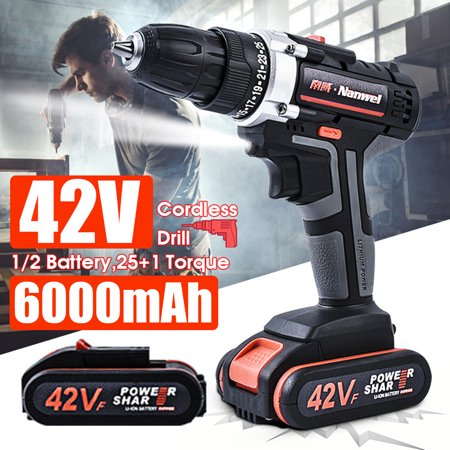 42VF 36NM Cordless Drill Hammer Rechargeable Electric Impact Wrench Electric Screw Driver 2 Speed 25 + 1 Torque LED Light (Cordless Rechargeable Hammer)