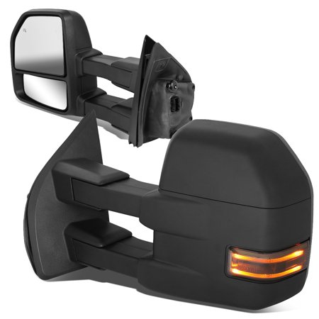 For 2015 to 2018 Ford F150 Pair Powered Adjustment Side Towing Mirror w / LED Turn Signal (Smoked) 16 17 Left+Right
