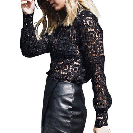 Blouses & Shirts Women Long Sleeve Shirt Lace Crochet Hollow Elegant Tops Loose Blouse