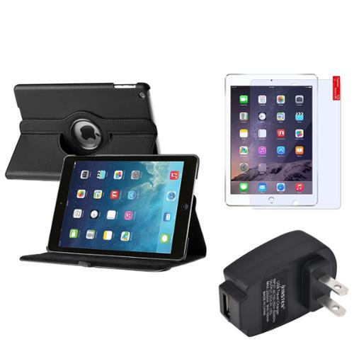 Insten Black 360 Leather Stand Case Cover Guard AC Charger For Apple iPad Air 5 5th Gen