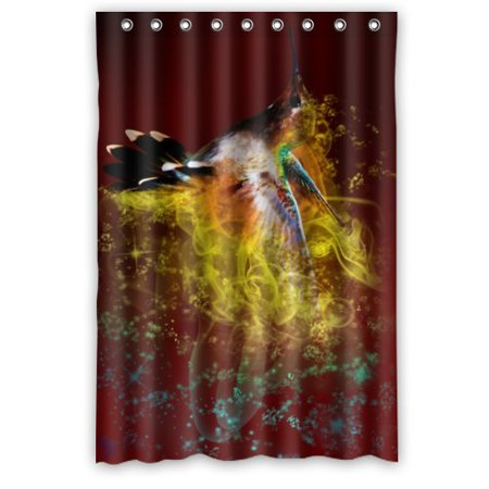 Greendecor Hummingbird Waterproof Shower Curtain Set With Hooks Bathroom Accessories Size 48x72 Inches