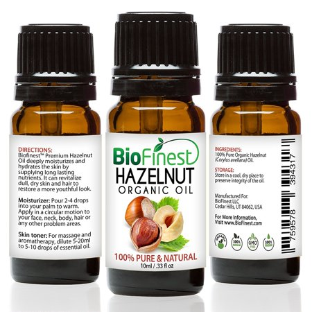 BioFinest Hazelnut Organic Oil - 100% Pure Cold-Pressed - Best Moisturizer For Hair Face Skin Acne Sunburn Cuts Wrinkle Scars Eczema - Essential Omega-6, Antioxidant, Vitamin E - FREE E-Book