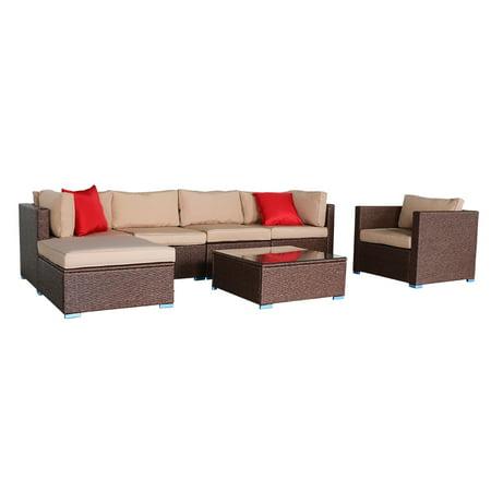 Zimtown 7 Pieces Outdoor Patio Garden Rattan Wicker Furniture Rattan Sofa Set With Cushions