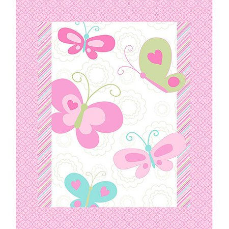 Springs creative 3d nursery butterfly whimsy quilt top for Pink nursery fabric