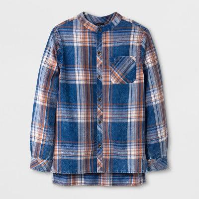 Art Class Boys' Long Sleeve Plaid Blue Flannel Button-Down Shirt XS (4/5) - NEW