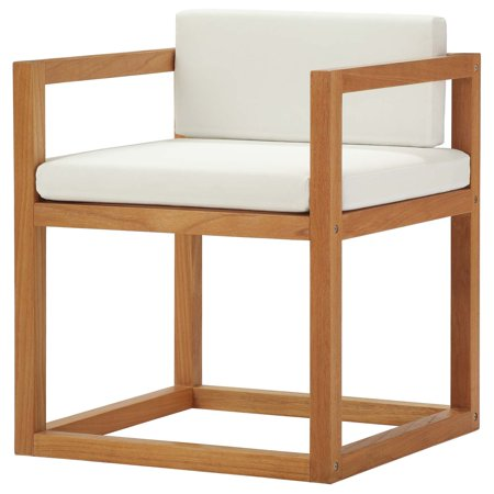 Contemporary Modern Urban Designer Outdoor Patio Balcony Garden Furniture Lounge Side Armchair Chair, Wood, Natural White ()