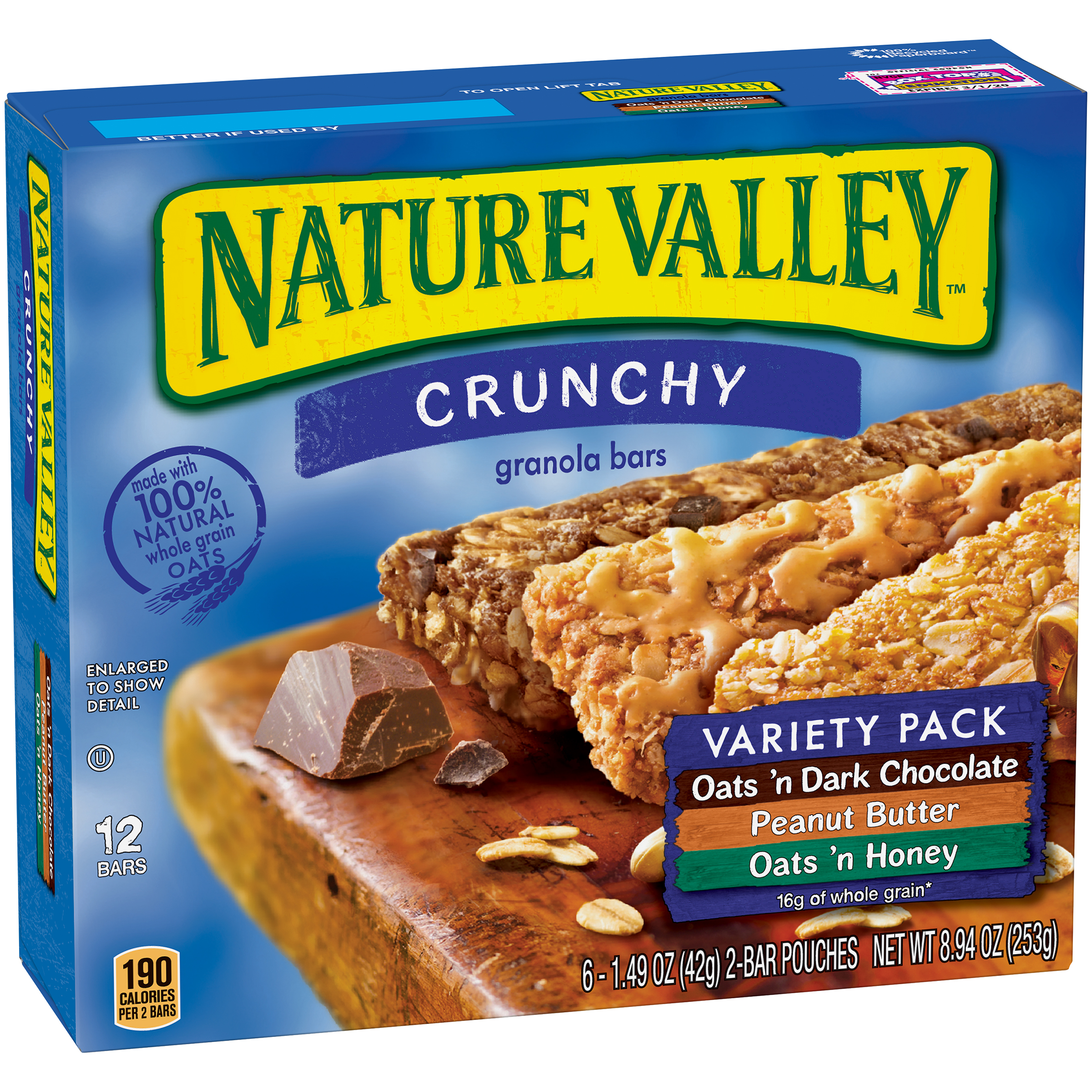 Nature Valley™ Crunchy Granola Bar Variety Pack of Oats 'n Dark Chocolate Peanut Butter and Oats 'n Honey 24 Bars In 12 - 1.49 oz 2-Bar Pouches