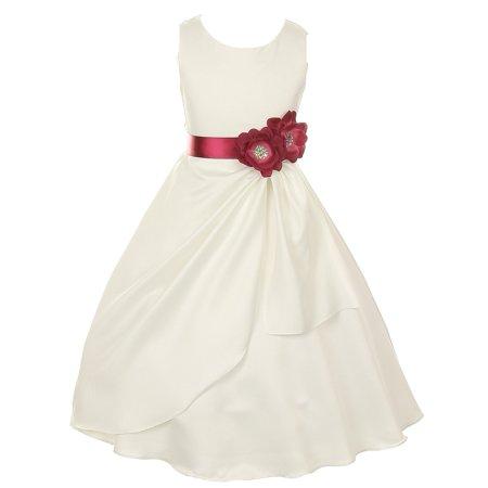 Little Girls Ivory Burgundy Bridal Dull Satin Sequin Flowers Occasion Dress 4