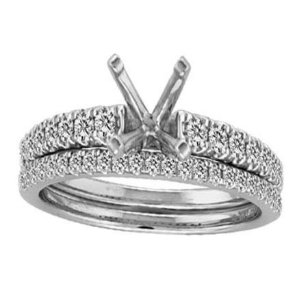 14K White Gold Bridal Set Semi Mount Fits Upto 1ct Solitaire 1/3ctw Diamonds Size 7 ()