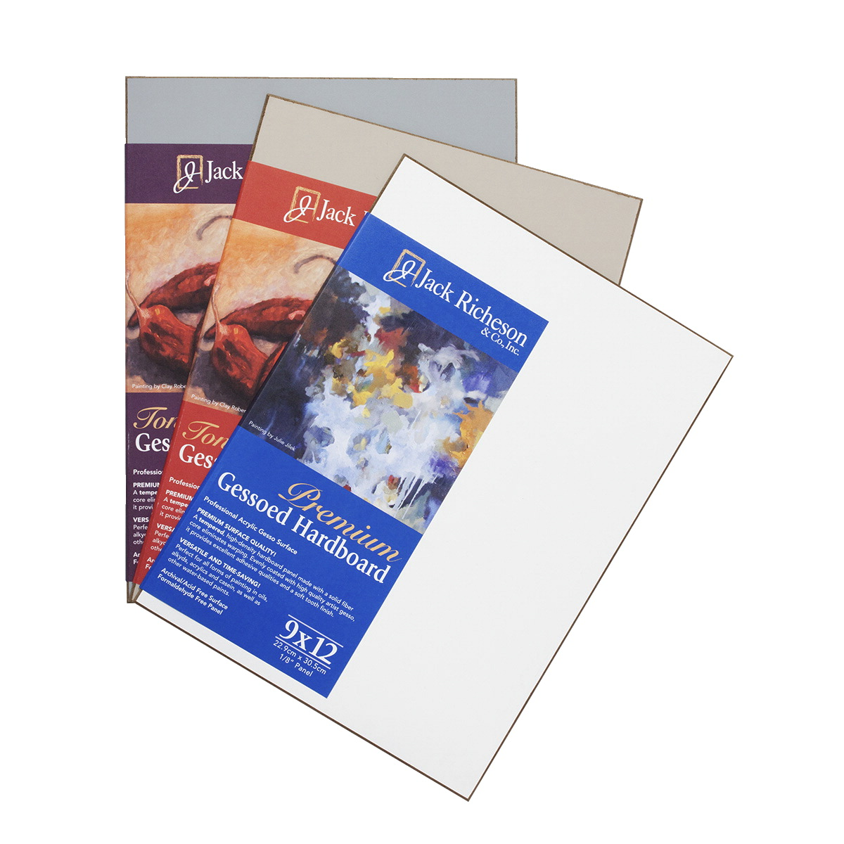 Jack Richeson Gessoed Hardboard Panels, 9 x 12 Inches, Assorted Colors, Set of 3