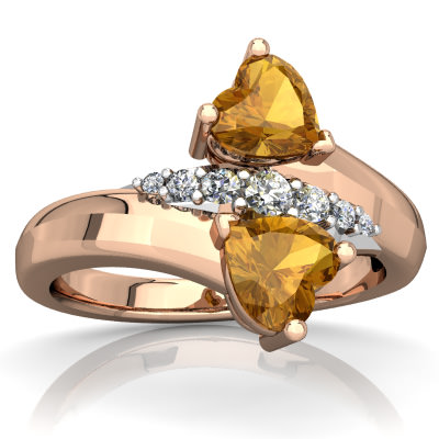 Citrine Heart to Heart Bypass Ring in 14K Rose Gold by