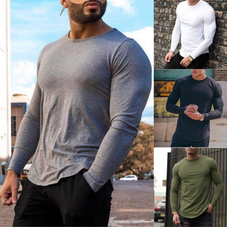 Bodybuilding Men's Long Sleeve T-shirt Slim Muscle Tops Fitness Gym Workout