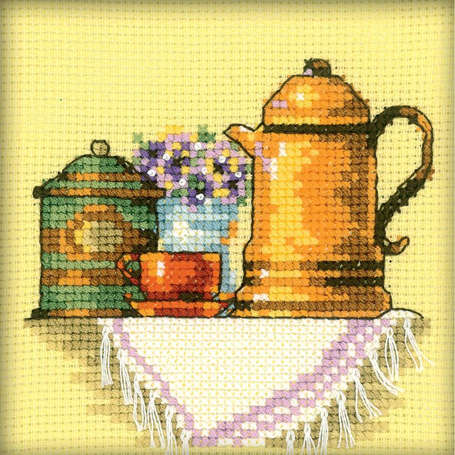"A Cup Of Coffee In The Morning Counted Cross Stitch Kit, 4"" x 4"", 14-Count"