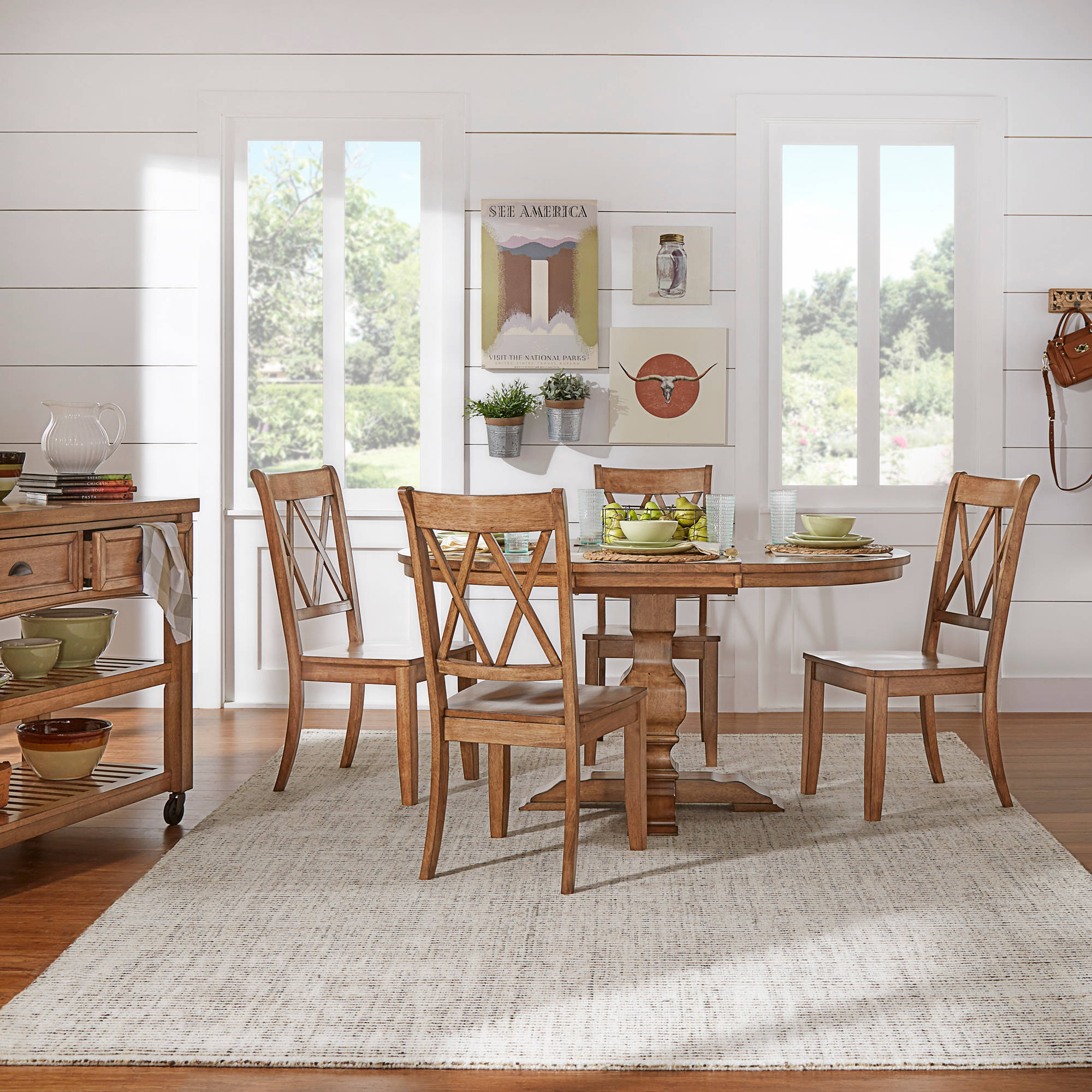"Weston Home 5-Piece 60"" Oval Dining Set, with Oak Table and Oak Cross Back Chairs"