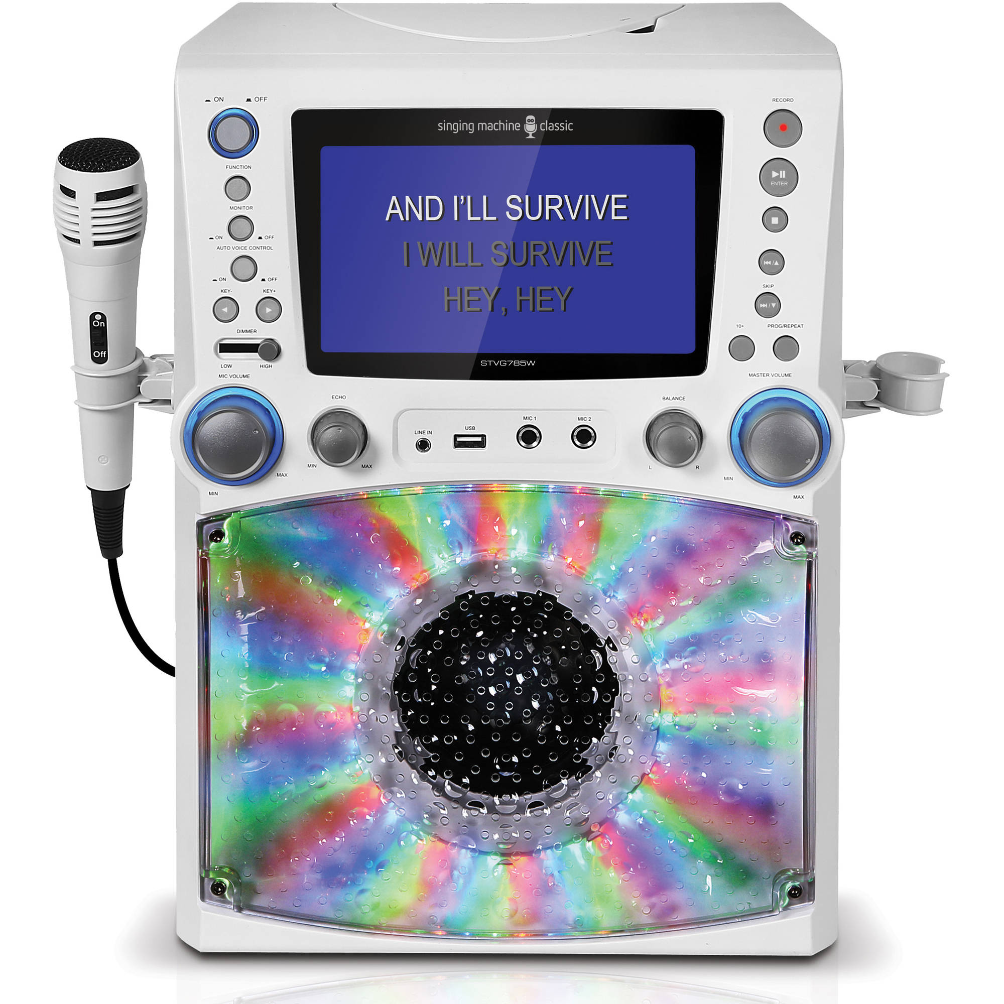 "Singing Machine STVG785W CDG/MP3G Karaoke System with 7"" Color Monitor and Record to USB with Microphone"