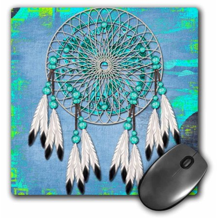 Catchers Pad - 3dRose Dream catcher with beads and feathers and gradient grunge background - Mouse Pad, 8 by 8-inch