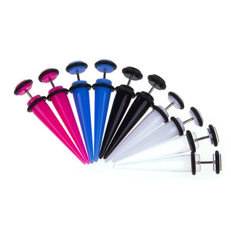 0g Body Jewelry - BodyJ4You Lot of 8 Pieces Multi-Color Acrylic Fake Tapers Kit 0G Gauges Look 8 Pieces