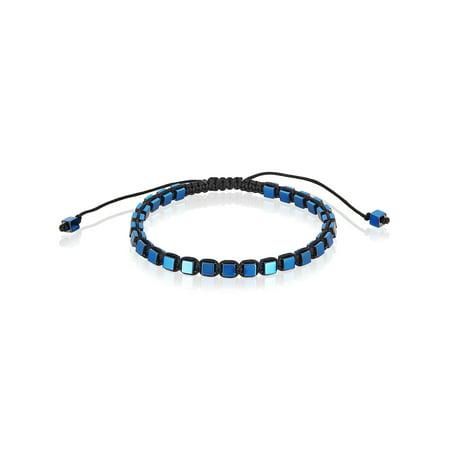 Blue Plated Hematite Cube Stone Adjustable Bracelet (4mm)