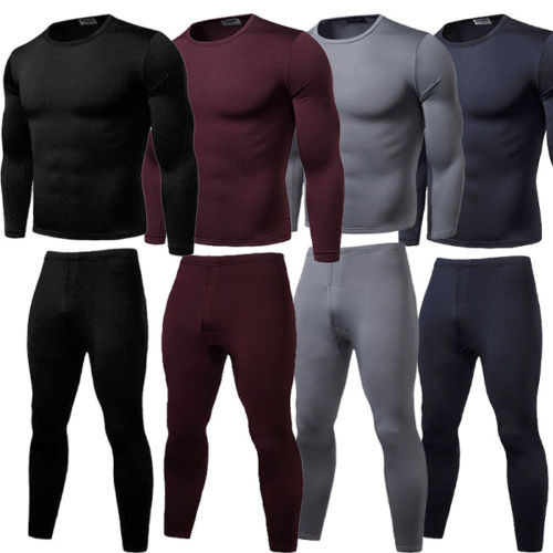 2PCS Mens Winter Warm Ultra-Soft Fleece Lined Thermal Top & Bottom Underwear Set