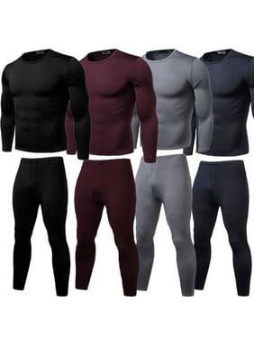 2PCS Mens Winter Warm Ultra-Soft Fleece Lined Thermal Top & Bottom Underwear Set