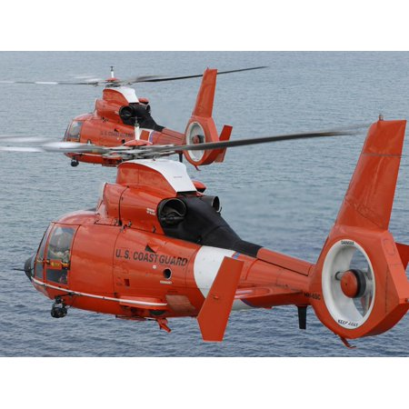Two Coast Guard HH-65C Dolphin Helicopters Fly in Formation Over the Atlantic Ocean Print Wall Art By Stocktrek Images