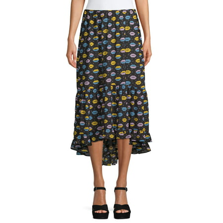 Sui by Anna Sui Women's Love and Kisses Print Skirt With Love Print Skirt
