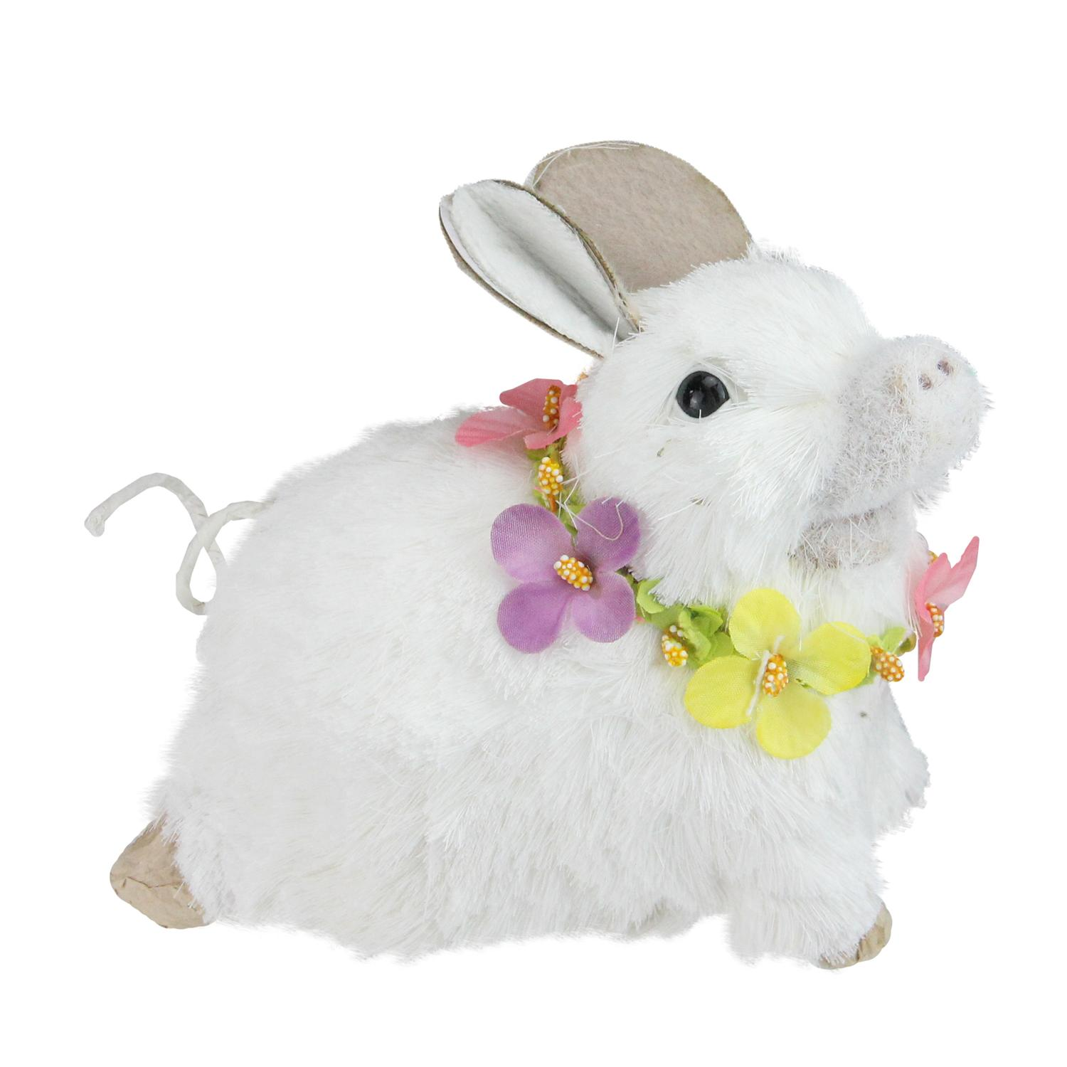 """6.5"""" White Sisal Piglet with Floral Lei Spring Figure"""