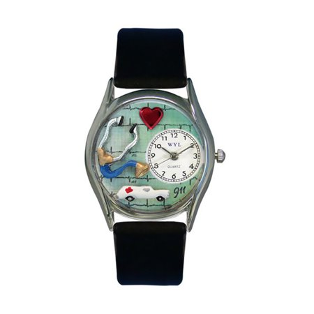 Whimsical EMT Navy Blue Leather And Silvertone Watch