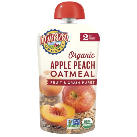 Earth's Best Organic Stage 2, Apple Peach Oatmeal Fruit and Grain Puree, 4.2 Ounce