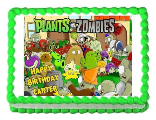 Sensational Plants Vs Zombies Popcap Sunflower Wall Nut Zombies Edible Cake Funny Birthday Cards Online Overcheapnameinfo