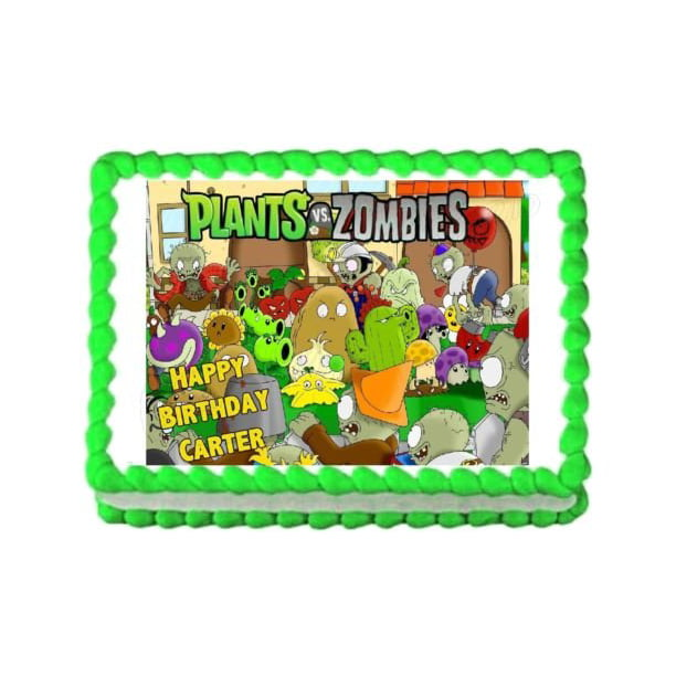 Super Plants Vs Zombies Popcap Sunflower Wall Nut Zombies Edible Cake Personalised Birthday Cards Paralily Jamesorg
